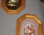 Vintage, Floral Pictures, Italy,  Gold Frames, Wall Decor, Roses, Shabby Chic, Romantic, Victoiran