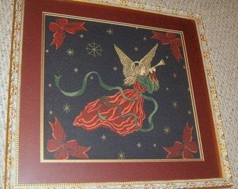 Vintage, Angel Picture, Framed Tapestry, Christmas Angel, Tapestry, Holiday Decor, Gold Frame, Ornate Frame