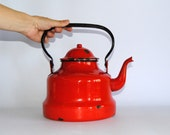 Vintage  red ENAMEL TEAPOT - kettle - spacerocketstore