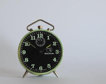retro - vintage mechanical wind up - BEDSIDE ALARM CLOCK (green acqua - black background)