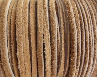 Camel Brown Flat Real Suede Lace 3mm Wide Leather