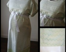 Maternity Hospital Labor Gown -Green Chevron, Polka Dot Band,  Kathryn Style Maternity Hospital Gown (Labor and Delivery Hospital Gown)