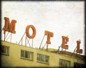 Yellow Vintage Motel Sign 8 x 10 Photography, Seattle
