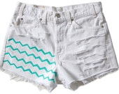 High Waisted White Denim Shorts Vintage Ripped Distressed Chevron Turquoise Stripes Hand Painted Boho Coachella Hipster W32