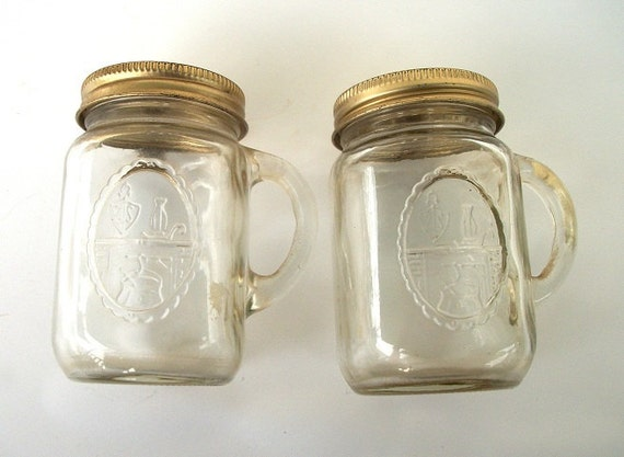 Vintage Mini Mason Jar Salt And Pepper By Thelittleantiquarian