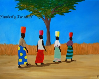 Colorful Load, African Women (Original Acrylic on Canvas) - Kim.T. 2013