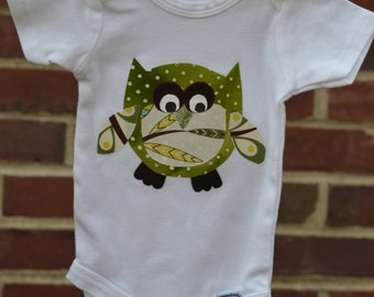 Hoots Onesie in Green and Brown