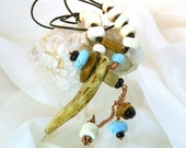 Men's Necklace, Woodland Deer Antler, Horn Pendant, Earth Elements, Mojo World Traveler Style, Turquoise, Tibet Chank, Jet,  Fossil Crinoids