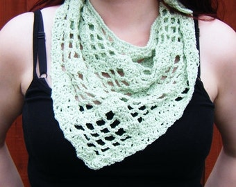 Crochet Scarf Pale Green Kerchief Triangular Shawl Scarf Neckwarmer