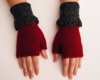 Red and Grey Crochet Fingerless Mittens