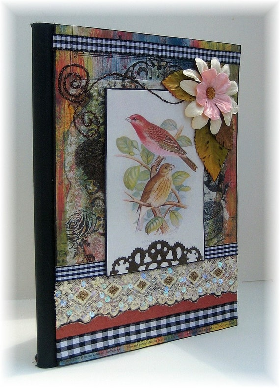 Altered Composition Book, Comp Book, OOAK, Beautiful Birds
