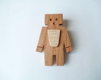 robot brooch  wood  jewellery scroll saw