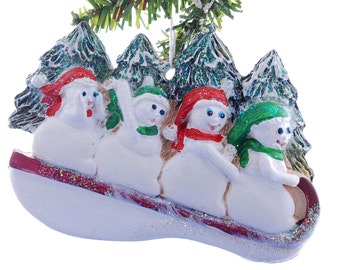Christmas ornament personalized snowmen for a family or group of four - 4 names one on each snowman sledder (15)