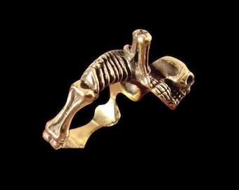 Solid Bronze Mr Bones Skeleton Ring - Any Size/Free Shipping worldwide