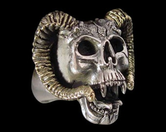 Stainless Steel Aries Ram Skull Ring - Size 14 - NO STONES - Instock/Shipping