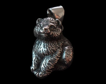 Stainless Steel Bear Cub Biker Pendant sold without the Chain - Free Shipping