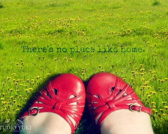 Whimsical Red Shoes Photograph, Wizard of Oz Inspired, Fairytale Art, Green Grass, Field - There Is No Place Like Home