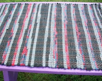 Woven wool rag rug black red grey wool multicolored south dakota made