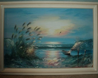 LARGE SUNRISE, SUNSET, Original Oil Painting on Canvas Signed by The Artist in Great Condition with wonderful color palette and composition