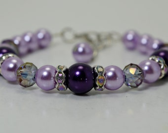 Pearl Bracelet, Purple and Lilac Bracelet and Earrings, Bridal Jewelry, Wedding Bracelet, Purple Pearl Jewelry, Purple Bracelet and earrings