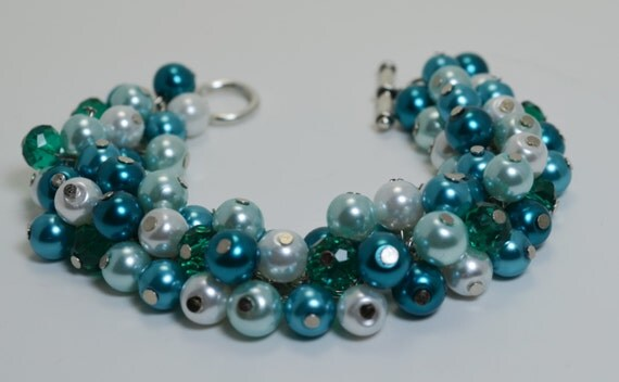 Pearl Cluster Bracelet, Aqua, white and teal pearls with crystals cluster chunky bracelet, wedding, bridal, bridesmaids - Tropical Waters -