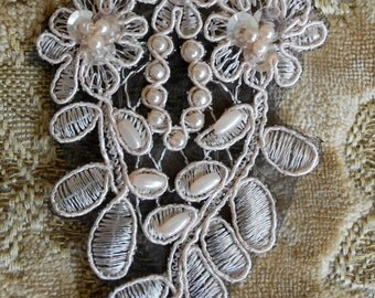 Pale Pink Floral Stitched Beaded Appliques