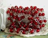 Rosary Chain, Beaded Chain, Ruby Red Dark Siam Bead Chain, Chain, Bead Chain, Jewelry Chain, Glass Bead Chain CHN-057