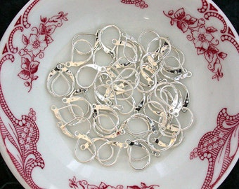50 Pieces, 25 Pair Earwires, Leverback Earwires, Earring Findings, Silver Color Leverbacks, Silver Leverbacks FIN-046