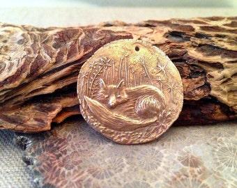 Bronze Baby Fox Coin Pendant