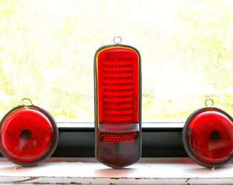 vintage auto reflectors --red glass Stimsonite --instant collection, industrial glass reflectors, vintage tail light