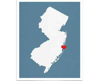 New Jersey State Map - Custom Personalized Heart Print - I Love USA Hometown Wall Art Gift Souvenir - New Jersey