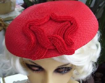 Vintage 1950s Pinehurst Red Hat with Soutache Swirl Trim Mad Men Show Fashion