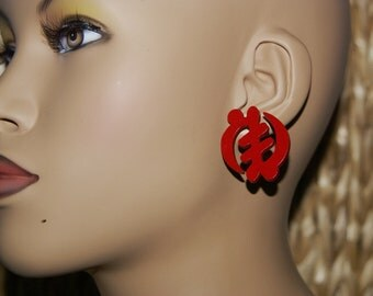 Stud Wood Earrings- Red Gye Nyame