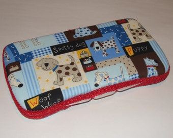 Baby Wipes Case, Travel Wipes Case With Puppy Dog Print with Red Trim