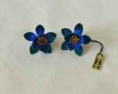 Vintage Earrings Signed CrownTrifari Colbalt Blue Enamel  Clip-On Flowers with Tag New Old Stock