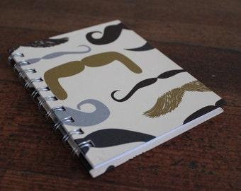Handmade Spiral Bound - Journal/Notebook (Mustache Graphic)