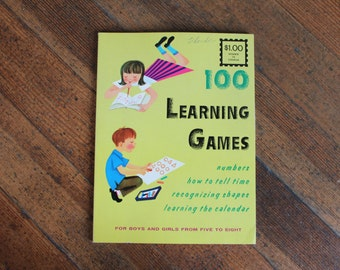 Vintage Children's Activity Book - 100 Learning Games for Boys and Girls from 5-8 - UNUSED (1960)