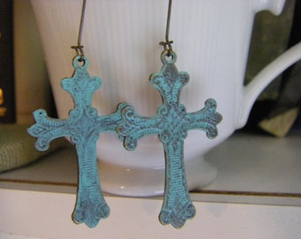 Distressed Cross Earrings Shabby Chic Verdigris Patina hand painted earrings
