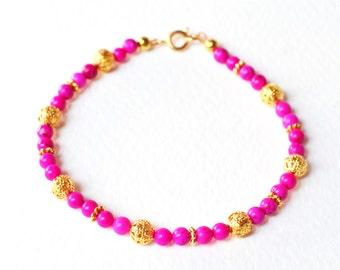 Neon Pink Bracelet, Hot Pink and Gold Beaded Bracelet, Howlite Bead Bracelet UK