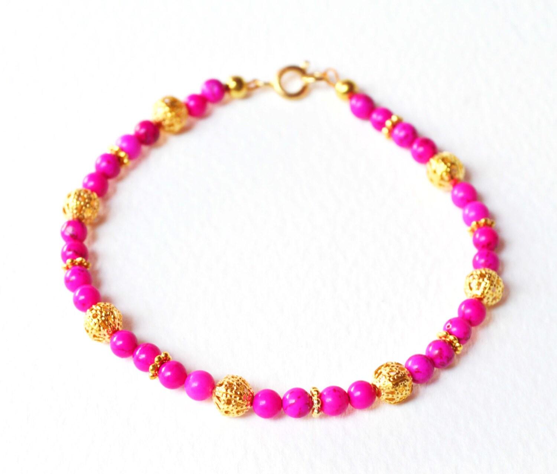 neon pink bracelet pink and gold beaded bracelet howlite
