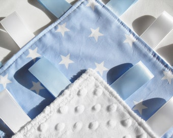 Blue and White Stars Taggie Blanket - Kids Comforter