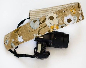DSLR camera strap cover.  earthy floral with stripe.
