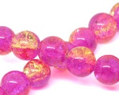 85 Crackle Beads - 10mm  - Fuschia and Champagne - 1 Strand apx 80pcs - Ships IMMEDIATELY  from California - B1007
