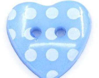 SALE 25 Heart Buttons Blue Scrapbooking 15x14mm - Ships IMMEDIATELY - W66