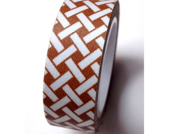 SALE Washi Tape Brown White Weave   - 15mmx10m - TP36
