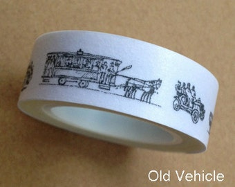 SALE Old Vehicles - Washi Tape - 15mm Wide - 10M - Ships IMMEDIATELY from California - TP238