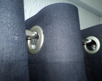 """Linen Curtain Panel Black with Grommets 52"""" x 84"""" ECO Custom size, color"""