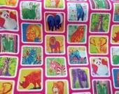KOKKA - Fujiyosha Brothers Jungle Animal Squares Printed Oxford