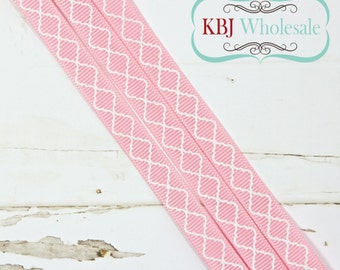 "Pink Quatrefoil Lattice - Custom - 3/8"" Grosgrain Ribbon - 3 yards"