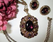 Filigree Western  Germany violet pendent  and earring set